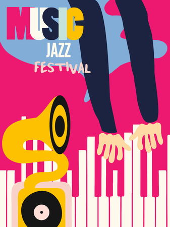 Music colorful background flat vector illustration. Artistic music festival poster, live concert, listening to music, creative design with gramophone and piano
