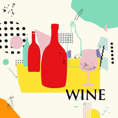 Wein und Cocktails bunten Hintergrund flache Vektor-Illustration. Partyflyer, Weinprobe, Weinfestival und Feierplakatdesign für Broschüre, Einladungskarte, Menü, Werbebanner