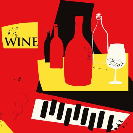 Flache Vektorillustration des bunten Hintergrundes der Musik und des Weins. Partyflyer, Jazzmusikclub, Weinprobe, Weinfestival und Feierplakatdesign für Broschüre, Einladungskarte, Menü Vektorgrafik