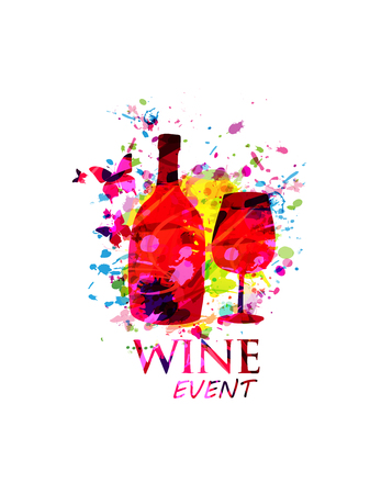 Wijn en cocktails kleurrijke achtergrond platte vectorillustratie. Feestflyer, wijnproeverij, wijnfestival en vieringen posterontwerp voor brochure, uitnodigingskaart, menu, promotiebanner