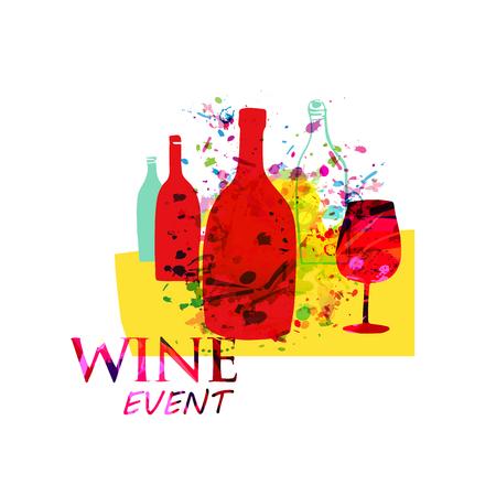 Ilustración de vector plano de fondo colorido vino y cócteles. Flyer de fiesta, evento de degustación de vinos, festival del vino y diseño de carteles de celebraciones para folleto, tarjeta de invitación, menú, banner de promoción