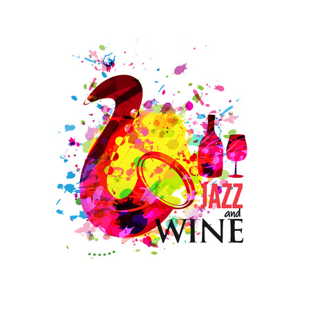 Music and wine colorful background flat vector illustration. Party flyer, jazz music club, wine tasting event, wine festival and celebrations poster for brochure, invitation card, promotion banner Illustration