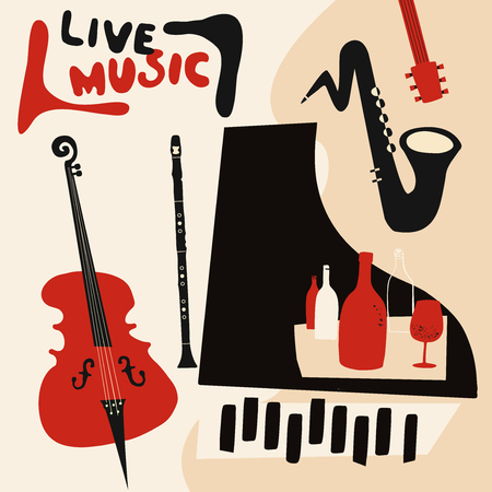 Live music and wine colorful background flat vector illustration. Party flyer, jazz music club, wine tasting event, wine festival, celebrations poster for brochure, invitation card, promotion banner Archivio Fotografico - 111048793