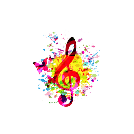 Colorful music background with G-clef vector illustration design. Artistic music festival poster, live concert, party flyer, music notes signs and symbols Illustration