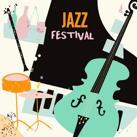 Jazz music and wine colorful background flat vector illustration. Party flyer, jazz music club, wine tasting event, wine festival, celebrations poster for brochure, invitation card, promotion banner
