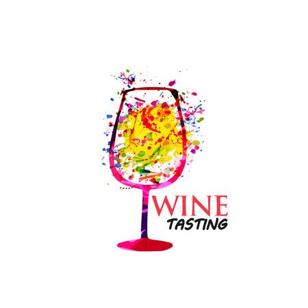 Flache Vektorillustration des bunten Weinglashintergrundes. Partyflyer, Weinprobe, Weinfest und Feiern, Restaurantplakatdesign für Broschüre, Einladungskarte, Menü, Werbebanner