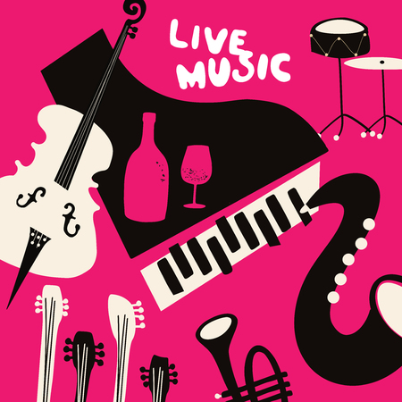 Live music and wine flat background vector illustration. Party flyer, music club, wine tasting event, wine festival, celebrations poster for brochure, card, promotion banner with music instruments Illustration