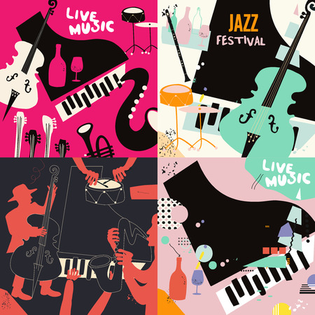 Set of music cards and banners. Music cards with instruments flat vector illustration design. Jazz music festival banners. Colorful jazz concert posters, party flyers, brochures