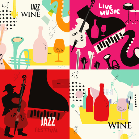 Set of music cards and banners. Music cards with instruments flat vector illustration design. Jazz music festival banners. Colorful jazz concert posters, party flyers, wine tasting events brochures