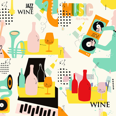 Set of music and wine cards and banners. Jazz music festival cards with instruments flat vector illustration design. Colorful concert posters, party flyers, wine tasting events, restaurant brochures Illustration
