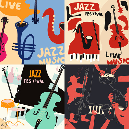 Set of music cards and banners. Music cards with instruments flat vector illustration design. Jazz music festival banners. Colorful jazz concert posters, party flyers, brochures Archivio Fotografico - 111929489
