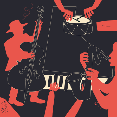 Music background with music instruments flat vector illustration. Artistic jazz music festival poster, live concert events, party flyer with saxophone, violoncello, piano and cymbals Illustration
