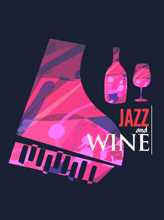 Jazz music and wine background flat vector illustration. Party flyer, music club, wine tasting event, wine festival and celebrations poster for brochure, invitation card, promotion banner, menu