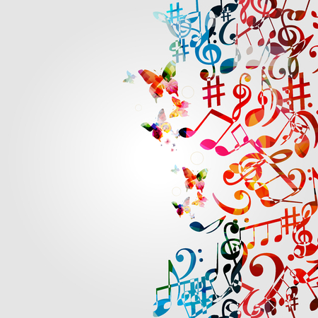Music background with colorful music notes and G-clef vector illustration design. Artistic music festival poster, live concert events, music notes signs and symbols Çizim