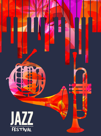 Jazz music festival poster with piano keyboard, french horn and trumpet vector illustration. Music background with music instruments, live concert events, party flyer, brochure, promotion banner Ilustração