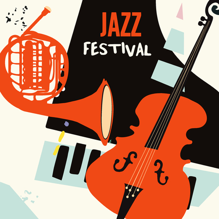 Jazz music festival poster with piano, french horn and violoncello flat vector illustration. Music background with music instruments, live concert events, party flyer, brochure, promotion banner