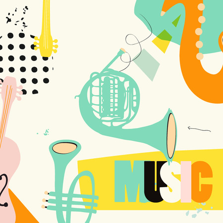 Music festival poster with trumpet, french horn, saxophone, violoncello flat vector illustration. Music background with music instruments, live concert events, party flyer, brochure, promotion banner
