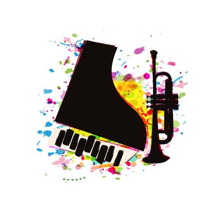 Manifesto del festival musicale con disegno di illustrazione vettoriale piatto di pianoforte e tromba. Sottofondo musicale con strumenti musicali, eventi di concerti dal vivo, volantini per feste, brochure, banner promozionali Vettoriali