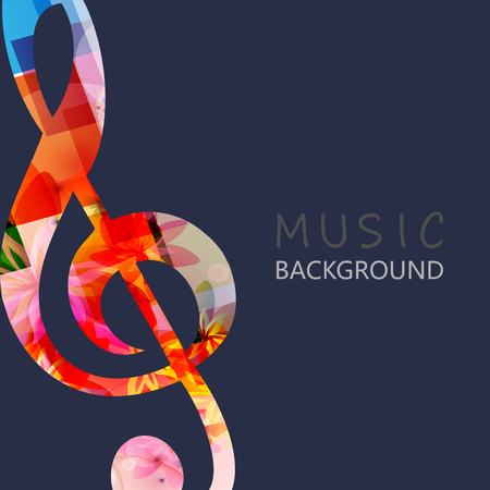 Music background with colorful G-clef vector illustration design. Artistic music festival poster, live concert events, musical key symbol