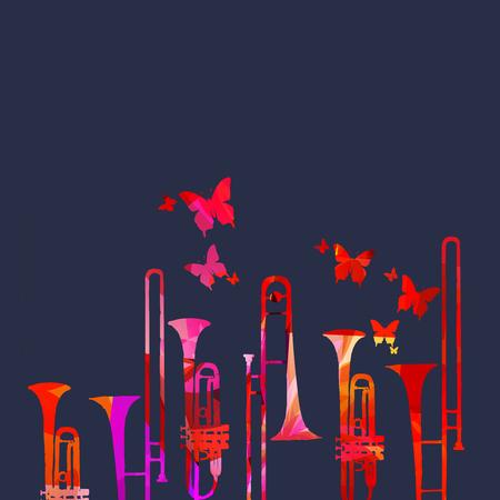Musikfestivalplakat mit Trompete- und Posaunenvektorillustration. Musikuntermalung mit bunten Musikinstrumenten, Live-Konzertveranstaltungen, Partyflyer