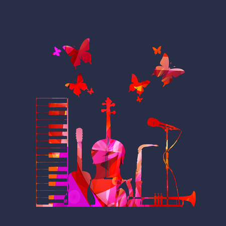 Music poster with music instruments 스톡 콘텐츠 - 120729612