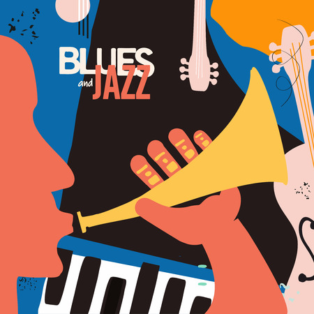 Jazz music festival poster with trumpet, piano and contrabass flat