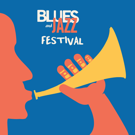 Jazz music festival poster with trumpet player flat vector illustration. Colorful music background with trumpeter, music festival poster, live concert events, party flyer