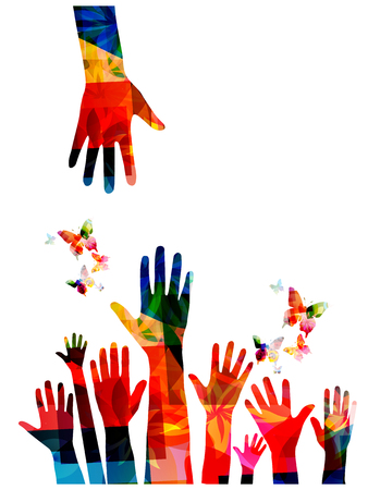 Colorful human hands with butterflies vector illustration design