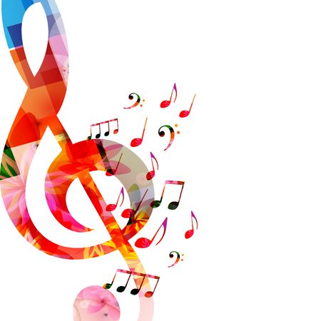 Music background with colorful music notes and G-clef vector illustration design. Artistic music festival poster, live concert events, music notes signs and symbols Stock Illustratie