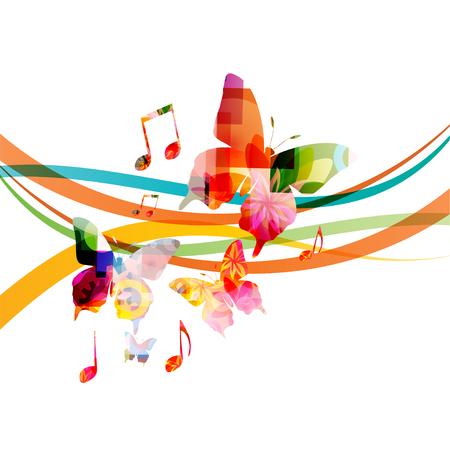 Sfondo musicale con note musicali colorate e disegno di illustrazione vettoriale di farfalle. Poster di festival di musica artistica, eventi di concerti dal vivo, segni e simboli di note musicali
