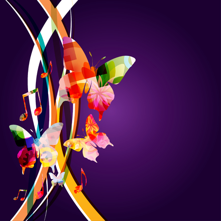 Music background with colorful music notes and butterflies vector illustration design. Artistic music festival poster, live concert events, music notes signs and symbols