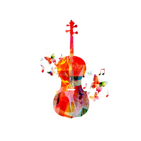Colorful violoncello with music notes isolated vector illustration design. Music background. Music instrument poster with music notes, festival poster, live concert events, party flyer