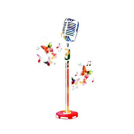 Colorful microphone with music notes isolated vector illustration design.