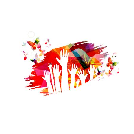 Mani umane con farfalle colorate illustrazione vettoriale design Vettoriali