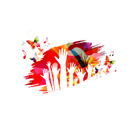 Human hands with butterflies colorful vector illustration design