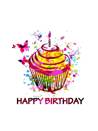 Colorful happy birthday cupcake greeting card