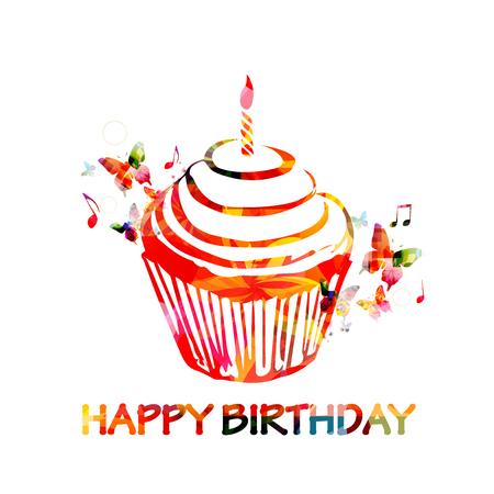 Colorful happy birthday cupcake greeting card Ilustração Vetorial