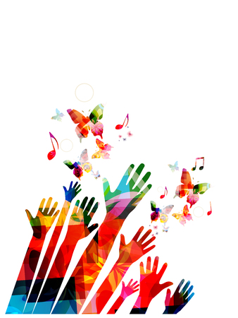 Manos humanas con mariposas y notas musicales coloridas