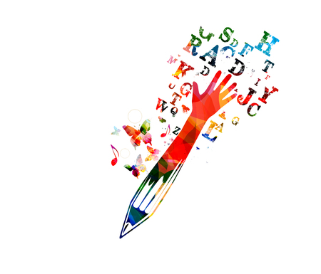 Colorful pencil with arm raised and alphabet letters