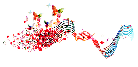 Music  with colorful music notes Stock Vector - 118423708