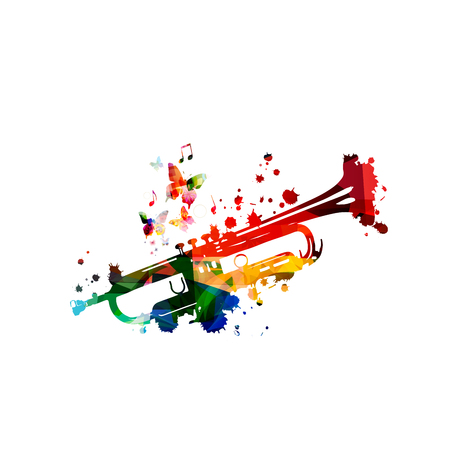 Colorful trumpet with music notes isolated Foto de archivo - 118423711