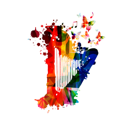 Colorful harp with music notes isolated