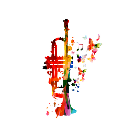 Colorful trumpet with music notes isolated Foto de archivo - 118423718