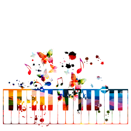 Colorful piano keys with music notes isolated