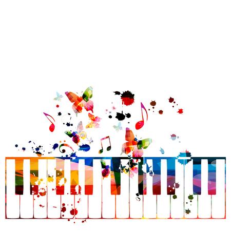 Teclas de piano coloridas con notas musicales aisladas