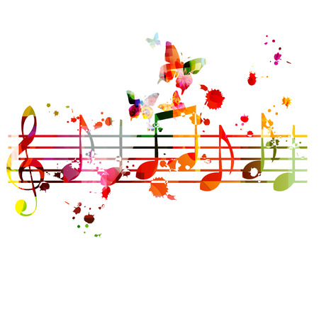 Music  with colorful music notes Stock Vector - 118423799