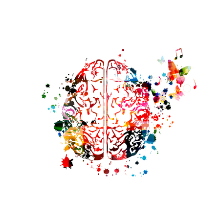 Cerebro humano colorido con notas musicales aisladas