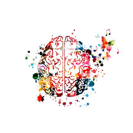 Cervello umano colorato con note musicali isolate
