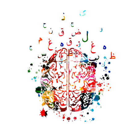 Colorful human brain with Arabic Islamic calligraphy symbols isolated
