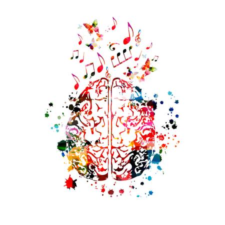 Buntes menschliches Gehirn mit Musiknoten isoliert Vektorgrafik